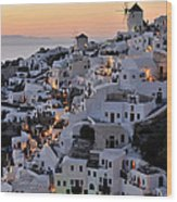 Oia Town During Sunset Wood Print