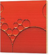 Oil And Water Drops Background Wood Print