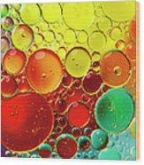 Oil Bubbles In Water Wood Print