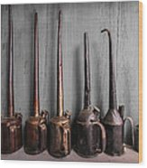 Oil Can Collection Wood Print by Debra and Dave Vanderlaan