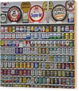 Oil Cans And Gas Signs Wood Print by Garry Gay