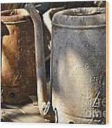 Oil Cans Picking Wood Print