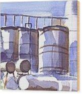 Oil Depot In April Wood Print