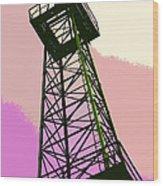 Oil Derrick In Pink Wood Print