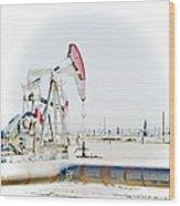 Oil Field Wood Print