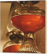 Oil Lamp In Red Wood Print
