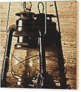 Oil Lantern Wood Print