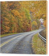 Oil Painted Country Road Wood Print