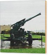 Oil Painting - Anti Aircraft Gun At Dover Castle Wood Print
