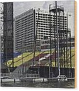 Oil Painting - Floating Platform And Construction Site In The Marina Bay Area Wood Print