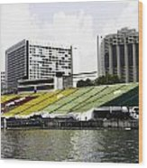 Oil Painting - Floating Platform In The Marina Bay Area In Singapore Wood Print