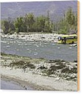Oil Painting - Front Part Of School Bus In A Mountain Stream On The Outskirts Of Srinagar Wood Print