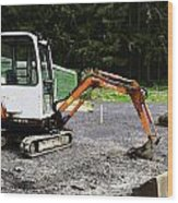 Oil Painting - Heavy Machinery Doing Some Excavation As Part Of Construction Wood Print