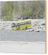 Oil Painting - School Bus In A Mountain Stream On The Outskirts Of Srinagar Wood Print