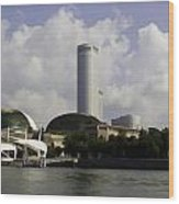 Oil Painting - The Swissotel Is A Tall Hotel In Singapore Next To The Esplanade Wood Print