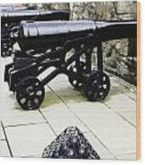 Oil Painting - Tourists And Cannons With Ammunition At The Wall Of Stirling Castle Wood Print