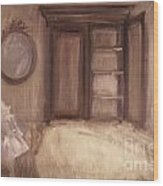 Oil Painting Of A Bedroom/ Digitally Painting Wood Print