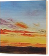 Oil Painting - When The Clouds Turn Red Wood Print