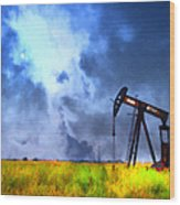 Oil Pump Field Wood Print