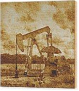 Oil Pump Jack In Sepia Two Wood Print