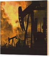 Oil Pumps Wood Print