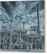 Oil Refinery In High Definition Wood Print