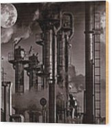 Oil Refinery With A Surreal Moonlight Wood Print