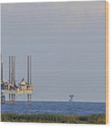 Oil Rig Vewed From Shore Wood Print
