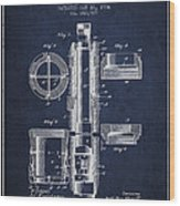 Oil Well Packer Patent From 1904 - Navy Blue Wood Print