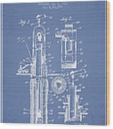 Oil Well Pump Patent From 1912 - Light Blue Wood Print