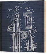 Oil Well Pump Patent From 1912 - Navy Blue Wood Print