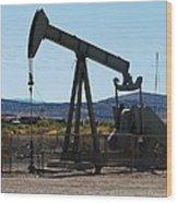 Oil Well  Pumper Wood Print