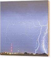 Oil Well Pumpjack Thunderstorm Panorama Wood Print