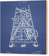 Oil Well Rig Patent From 1893 - Blueprint Wood Print