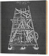 Oil Well Rig Patent From 1893 - Dark Wood Print