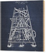 Oil Well Rig Patent From 1893 - Navy Blue Wood Print