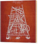 Oil Well Rig Patent From 1893 - Red Wood Print