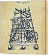 Oil Well Rig Patent From 1893 - Vintage Wood Print