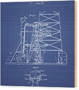 Oil Well Rig Patent From 1917 - Blueprint Wood Print