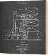 Oil Well Rig Patent From 1917- Dark Wood Print