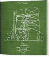 Oil Well Rig Patent From 1917- Green Wood Print