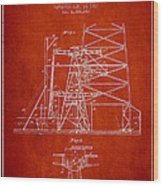 Oil Well Rig Patent From 1917- Red Wood Print