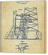 Oil Well Rig Patent From 1917- Vintage Wood Print