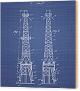 Oil Well Rig Patent From 1927 - Blueprint Wood Print