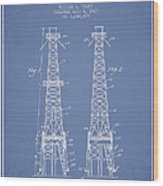 Oil Well Rig Patent From 1927 - Light Blue Wood Print