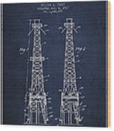 Oil Well Rig Patent From 1927 - Navy Blue Wood Print