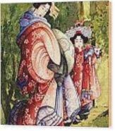 Oiran And Kamurox Wood Print