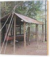 Ojibwe Canoe And Fish Trap Wood Print
