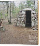 Ojibwe Weapons Wigwam Wood Print