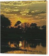 Okavango Sunset Wood Print